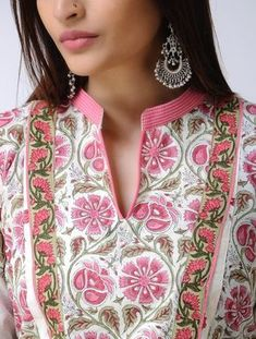 Ivory-Pink Block-printed Paneled Mulmul Kurta - All About Salwar Neck Designs, Neck Designs For Suits, Churidar Designs, Kurta Neck Design, Neckline Designs, Kurta Designs Women, Dress Neck Designs, Sleeve Designs, Printed Kurti Designs