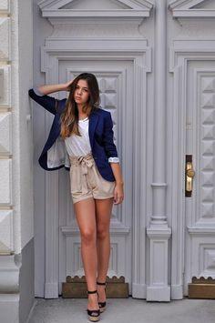 Navy blazer, paper bag shorts, wedges. Perfect summer look.