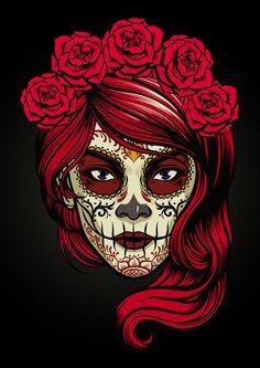 Sugar skull lady vector image on VectorStock Sugar Skull Mädchen, Sugar Skull Images, Sugar Skull Design, Sugar Skull Makeup, Sugar Skull Tattoos, Skull Color, Sugar Skull Wallpaper, Sugar Skull Artwork, Caveira Mexicana Tattoo