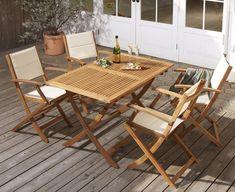 折りたたみ式ナチュラルガーデンファニチャー Relat リラト 5点セット(テーブル+チェア4脚) の画像 Outdoor Furniture Sets, Outdoor Decor, Garden Chairs, Table, Home Decor, Lawn Chairs, Decoration Home, Room Decor, Tables
