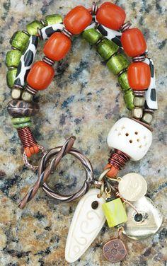 Exotic Amber, Giraffe Print, Lime, Bone & Mixed Metals Charm Bracelet $150