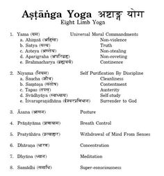 8 limbs of Yoga