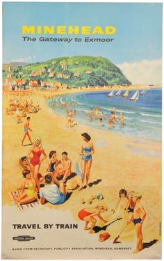 inch) Print (other products available) - Poster produced for British Railways (BR) to promote rail travel to Minehead, & Gateway to Exmoor& in Somerset. Artwork by Studio Seven. <br> - Image supplied by National Railway Museum - Print made in Australia Posters Uk, Beach Posters, Railway Posters, Poster Prints, Train Posters, British Travel, British Seaside, National Railway Museum, Train Travel