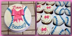 Bows or Baseball? reveal cake and cupcakes
