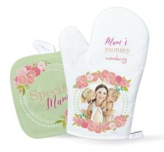 Floral delight personalised oven mitt and glove available from planet-cards.co.uk. Choose from a selection of design templates and personalise your favourite. Change the text and add a photo. let Mum know how much you love her cooking! #mothersday #giftideas