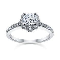 Royal Tiara 14K White Gold Diamond Engagement Ring Setting