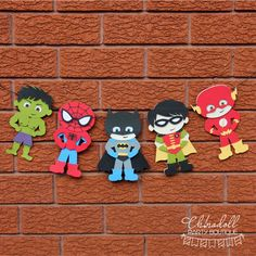 superhero party bunting 5 characters by chinadollparty on Etsy