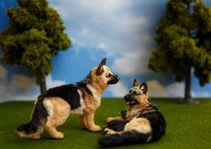 OOAK 1:12 German Shepherd Dog Dollhouse Miniature Furred