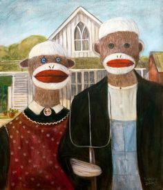 Gothic American Sock Monkeys Wood Print by Randy Burns. All wood prints are professionally printed, packaged, and shipped within 3 - 4 business days and delivered ready-to-hang on your wall. Grant Wood American Gothic, American Gothic Parody, Art Grants, Original Art, Original Paintings, Canvas Art, Canvas Prints, Famous Artwork, Arts Ed
