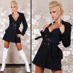 Redial Designer Black Autumn Womens Ladies Casual Outdoor Buttoned Belted Jacket Trench Coat With Bow Back Detail - 8 - 10
