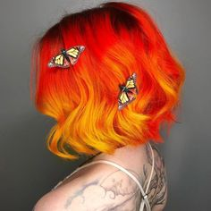 Coolest Yellow Orange Ombre color yellow 20 Stunning Orange Hair Color Shades You Have to See Orange Ombre Hair, Blond Ombre, Red To Blonde, Brown Ombre Hair, Ombre Hair Color, Hair Color Balayage, Cool Hair Color, Hair Colors, Orange And Pink Hair