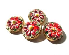 Reverse Painted Glass Buttons Flowers West Germany VINTAGE Buttons Four (4) Red Flowers Vintage Buttons Jewelry Sewing Supplies (F171) by punksrus on Etsy