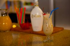 THE RUMCHATA COLADA 1 part RumChata 1 part Light Rum  1 part Pineapple Juice 1/2 part Cream of Coconut Shake with ice. Strain and serve over ice. Enjoy!