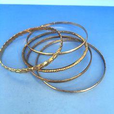 Lot of 5 Fashion Women's Jewelry Gold Metal Bangle Bracelets #Unknown