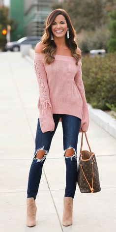 #winter #outfits pink knit off-shoulder longsleeve top