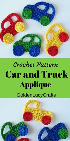 appliques for boys Crochet Pattern Car and Truck Applique Crochet Applique Patterns Free, Crochet Flower Patterns, Crochet Blanket Patterns, Baby Knitting Patterns, Crochet Motif, Baby Blanket Crochet, Crochet Flowers, Crochet Appliques, Crochet Car