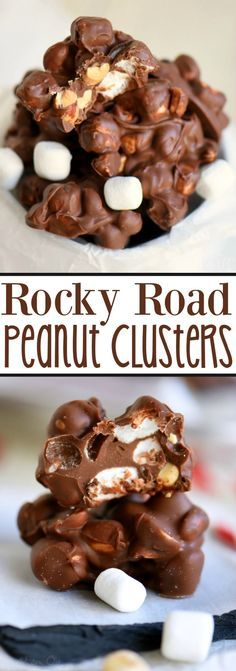 Rocky Road Peanut Clusters are made in the microwave and use only FIVE ingredients. A simple, delicious, easy candy recipe that everyone will enjoy!:
