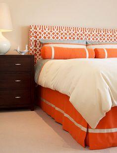 Custom made queen size bedskirt, tailored, box pleats, grosgrain ribbon, orange, bed skirt. $300.00, via Etsy.
