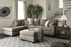 Benchcraft Calicho Cashmere Upholstered Sectional Sofa With Left Facing Chaise 3 Piece Sectional Sofa, Sectional Ottoman, Sectional Furniture, Living Room Sectional, Living Room Furniture, Home Furniture, Fabric Sectional, Belfort Furniture, Furniture Shopping