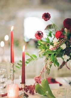 Burgundy candlelit table setting: http://www.stylemepretty.com/2015/11/19/colorful-european-castle-wedding/ | Photography: Peter & Veronika - http://peterandveronika.com/language/en/: