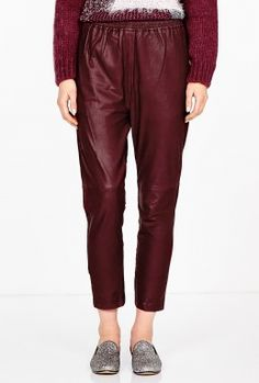Cordovan Leather Trouser by Ganni   LOVE THE COLOR.  NOT FOR WINTER DUE TO BEING QUITE LIGHTWEIGHT BUT I COULDN'T RESIST PINNING IT.