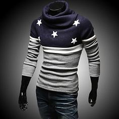 Men's The High Collar Embroidery Star Sweater –  ¥5,439 →¥ 2,610