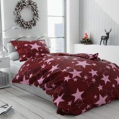 Bavlněné povlečení růzové červené vínové hvězdy hvězdičky vánoční moderní vánoce Comforters, Blanket, Bed, Home, Creature Comforts, Quilts, Stream Bed, Ad Home, Blankets