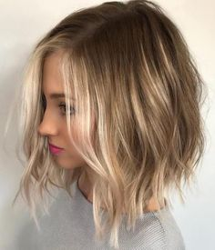 Love the colors in this Choppy Blonde Balayage Bob