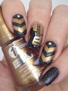 Nice rock guitar music note nail art design musical nail art 30 cute and edgy chevron nail arts prinsesfo Choice Image