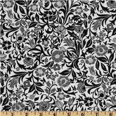 Floral Allover White/Black