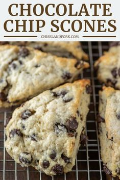 Easy Chocolate Chip Scones Recipe - Chisel Fork, , These easy chocolate chip scones are the British version of a biscuit, making them slightly sweet and buttery with a crumbly edge. Brunch Recipes, Breakfast Recipes, Dessert Recipes, Desserts, Sweet Recipes, Homemade Scones, Homemade Breads, Gabel, Breakfast Bake