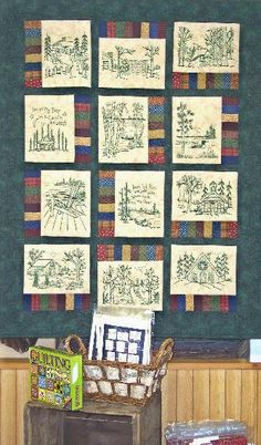 """Interesting thought - integrate """"redwork"""" embroidered line drawings, or heat-fixed pemanent-ink drawings and writings on blocks, into a memory quilt. Here, Northwoods Memories Quilt Pattern 12 by Wellington House Machine Embroidery Quilts, Cross Stitch Embroidery, Embroidery Patterns, Hand Embroidery, Simple Embroidery, Disney Quilt, Quilt Square Patterns, Primitive Stitchery, Embroidered Quilts"""