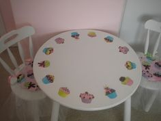 photo copied the fabric and cut out the cupcakes & decoupage to go with fabric covered chairs