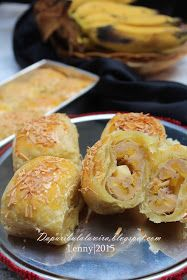 Dapur Ibu Lala Wira: Bolen Keju Pisang Raja Baking Recipes, Cake Recipes, Snack Recipes, Dessert Recipes, Roti Canai Recipe, Bolu Cake, Tart, Banana Snacks, Malay Food