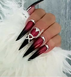 puddycatshoes… www.puddycatshoes … 30 coffin nail designs thatNew nails stiletto burgunGlow in the dark acrylic Fancy Nails, Bling Nails, Pretty Nails, Red Ombre Nails, Red Black Nails, Nagel Bling, Toe Nail Clippers, Exotic Nails, Stiletto Nail Art
