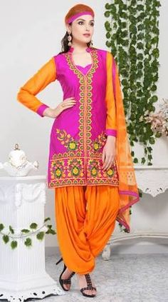 Pink Resham Work Patiala Salwar Suit DUS-39188 - Brought to you by Avarsha.com