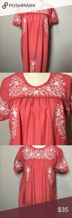 """Price Drop!! Coral, white embroidered floral dress Oh my! Super super cute, Chelsea and Theodore soft and 100% cotton. Perfect for those hot summer days. Coral with white embroidered flowers, EUC, size medium, measures 34"""" long and pit to pit 20"""". Chelsea and Theodore Dresses"""