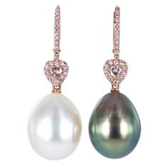 South Sea Pearl Pink Diamond Earrings | From a unique collection of vintage dangle earrings at http://www.1stdibs.com/jewelry/earrings/dangle-earrings/