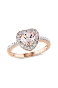 Two-Tone Diamond & Morganite Heart Fashion Ring by Blushing Bride: Rose Gold Jewelry on @HauteLook