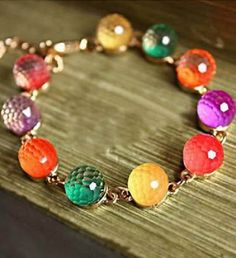 So Pretty! Colorful Fun Gift Idea! Sweet Candy Rainbow Color Beaded Bracelet #Rainbow #Color #Beads #Beaded #Bracelet #Fashion #Jewelry #Accessories #Colorful #Affordable #Gift #Ideas