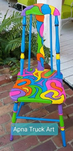Handpainted OOAK Chair Custom Colorful Painted Chair by PinkOkra Hand Painted Chairs, Whimsical Painted Furniture, Hand Painted Furniture, Funky Furniture, Paint Furniture, Furniture Makeover, Painted Tables, Furniture Design, Painted Stools