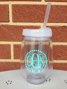 Monogrammed White Bev2Go Acrylic Cup Stemless Wine Tumbler on Etsy. Spring break must have!