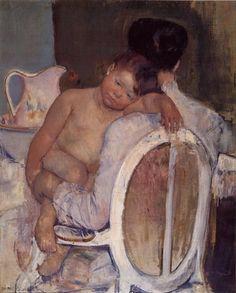 blue - Mother and child - Mutter und Kind - painting - pintura -   Mary Cassatt
