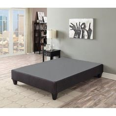 Primo International Carter RTA Upholstered Platform Bed Base, Multiple Sizes, Gray