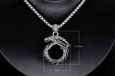 pánske náhrdelníky a retiazky | OUROBOROS (UROBOROS) - DRAK - oceľový prívesok s retiazkou(60cm, 4mm) | anion.sk - šperky, darčeky, klenoty, firemné darčeky, firemné prezenty, luxusné perá, značkové perá, luxus, perá faber-castell, perá cross, Tony Perotti, zapisnik, zapisniky Ouroboros, Retro Men, Wearable Device, Necklace Online, Men Necklace, Jewelry Supplies, Jewelry Watches, Jewelry Design, Mens Fashion