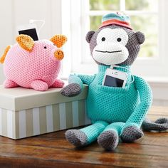Rockin Knit Speakers Rock the house (or your room) with surprisingly big sound. These adorable knit animals have a speaker on each side and feature a front pouch pocket for holding your iPhone® or MP3 player.