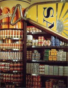 Food displays in the food hall, lower ground floor at Big Biba, 1973.