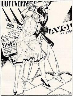 """Sigismunds Vidbergs """"Uz kafejnīcu"""" (1926), papīrs, tuša // Latvian artist Sigismunds Vidbergs """"To the cafe"""" (1926), paper, ink"""