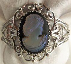 Vintage Whiting & Davis Mesh Cameo Intaglio Parure  Necklace Earrings Bracelet Brooch Gatsby by UppityWomen, $150.00