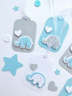 Elephant Tags Blue Gray Elephant Baby Shower Gift Tags Elephant Baby Boy 1st Birthday Elephant Favor Tags Thank You Gift Tags Set of 12 -- Looking for Baby Shower or Baby Boy 1st Birthday party decorations?! Cute Blue Gray Elephant Favor Tags make your party adorable. - DETAILS-- ✓Made of